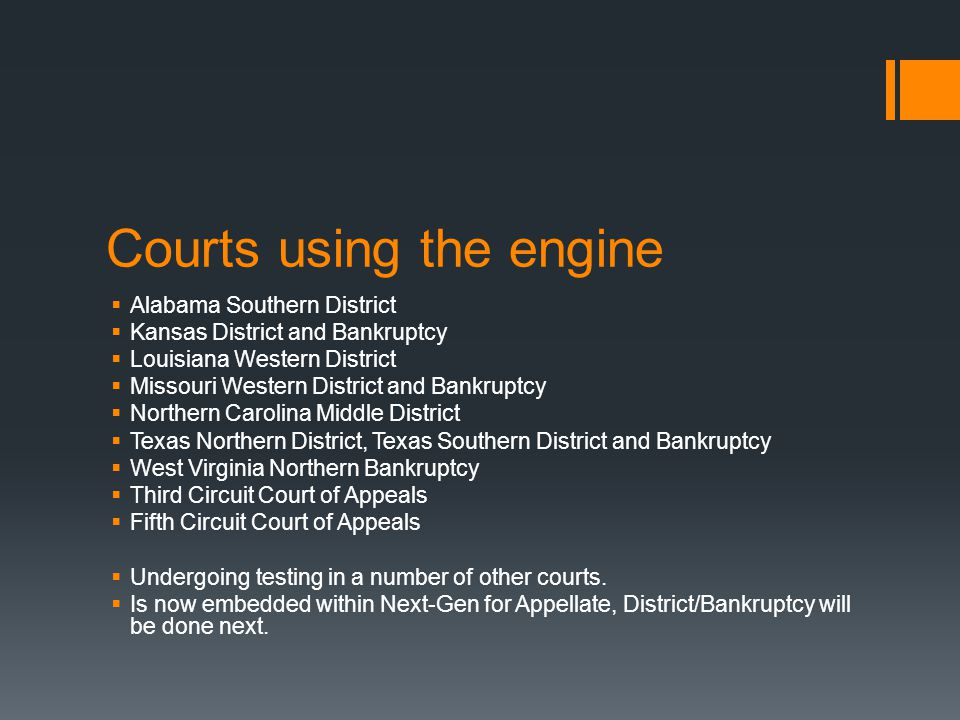 Courts using the engine  Alabama Southern District  Kansas District and Bankruptcy  Louisiana Western District  Missouri Western District and Bank