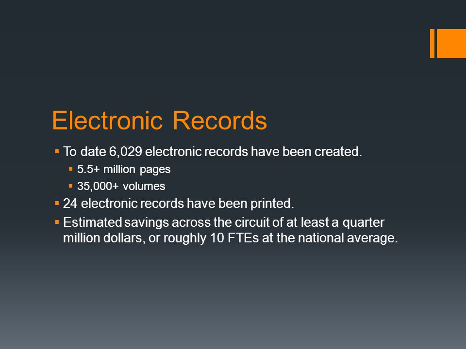 Electronic Records  To date 6,029 electronic records have been created.  5.5+ million pages  35,000+ volumes  24 electronic records have been prin