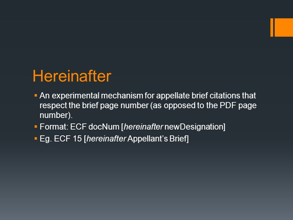 Hereinafter  An experimental mechanism for appellate brief citations that respect the brief page number (as opposed to the PDF page number).  Format