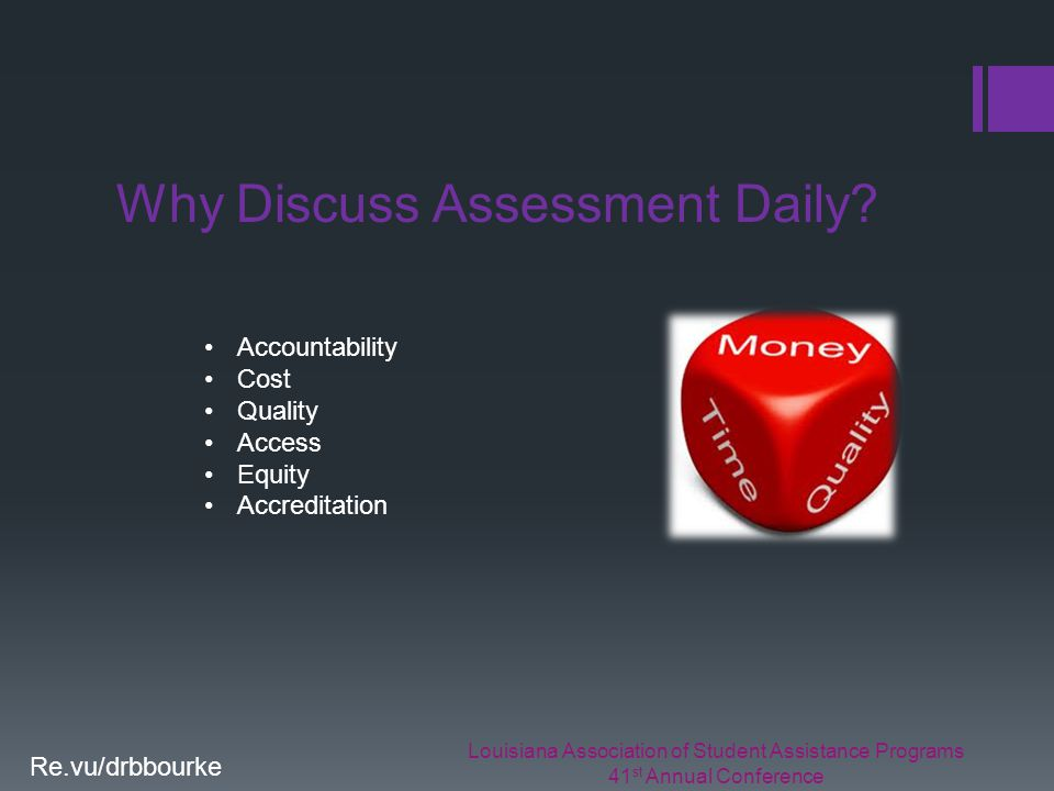Louisiana Association of Student Assistance Programs 41 st Annual Conference Re.vu/drbbourke Why Discuss Assessment Daily.