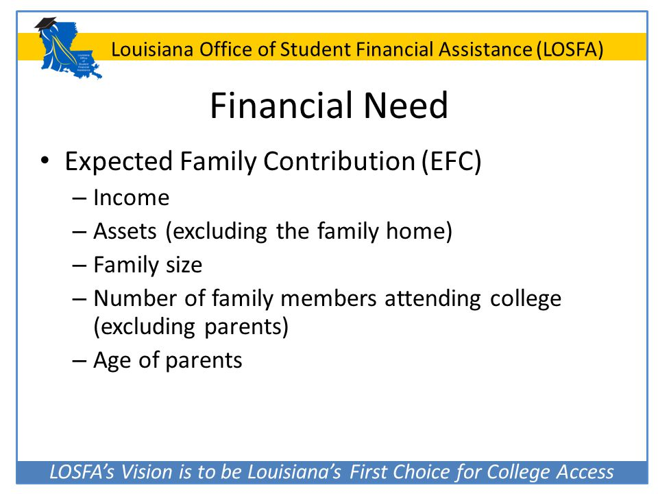 LOSFA's Vision is to be Louisiana's First Choice for College Access Louisiana Office of Student Financial Assistance (LOSFA) Financial Need Expected F