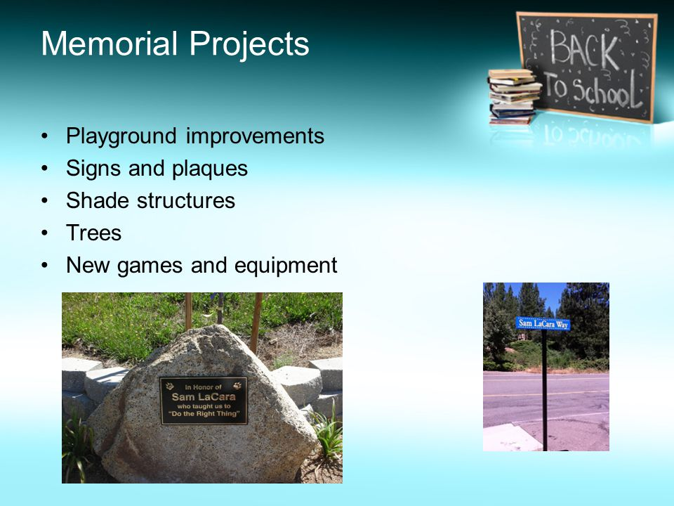 Memorial Projects Playground improvements Signs and plaques Shade structures Trees New games and equipment
