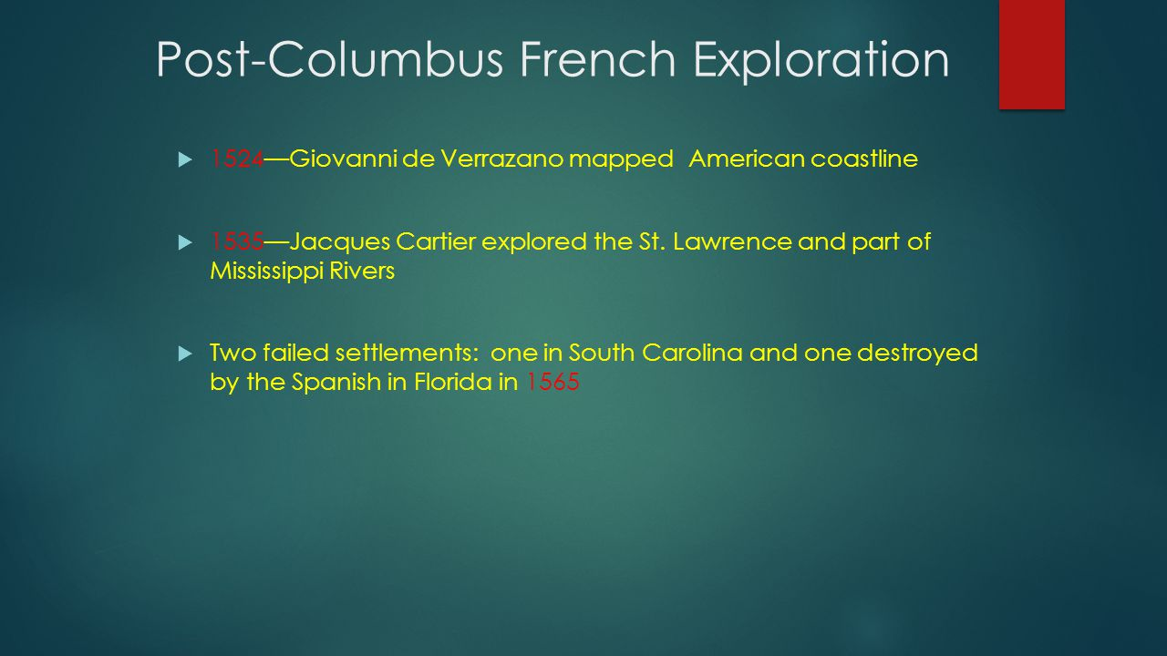 Post-Columbus French Exploration  1524—Giovanni de Verrazano mapped American coastline  1535—Jacques Cartier explored the St. Lawrence and part of M