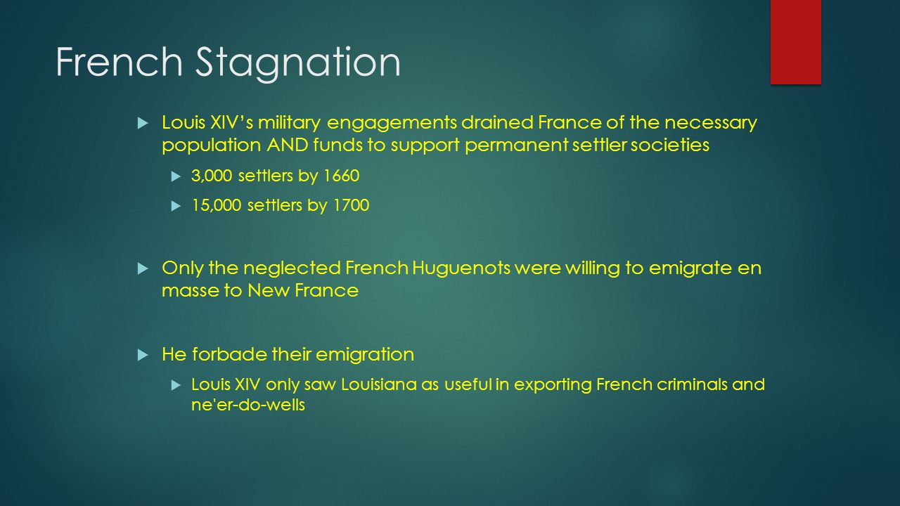 French Stagnation  Louis XIV's military engagements drained France of the necessary population AND funds to support permanent settler societies  3,000 settlers by 1660  15,000 settlers by 1700  Only the neglected French Huguenots were willing to emigrate en masse to New France  He forbade their emigration  Louis XIV only saw Louisiana as useful in exporting French criminals and ne er-do-wells