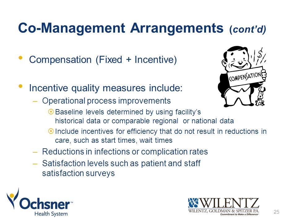 Co-Management Arrangements (cont'd) Compensation (Fixed + Incentive) Incentive quality measures include: –Operational process improvements  Baseline