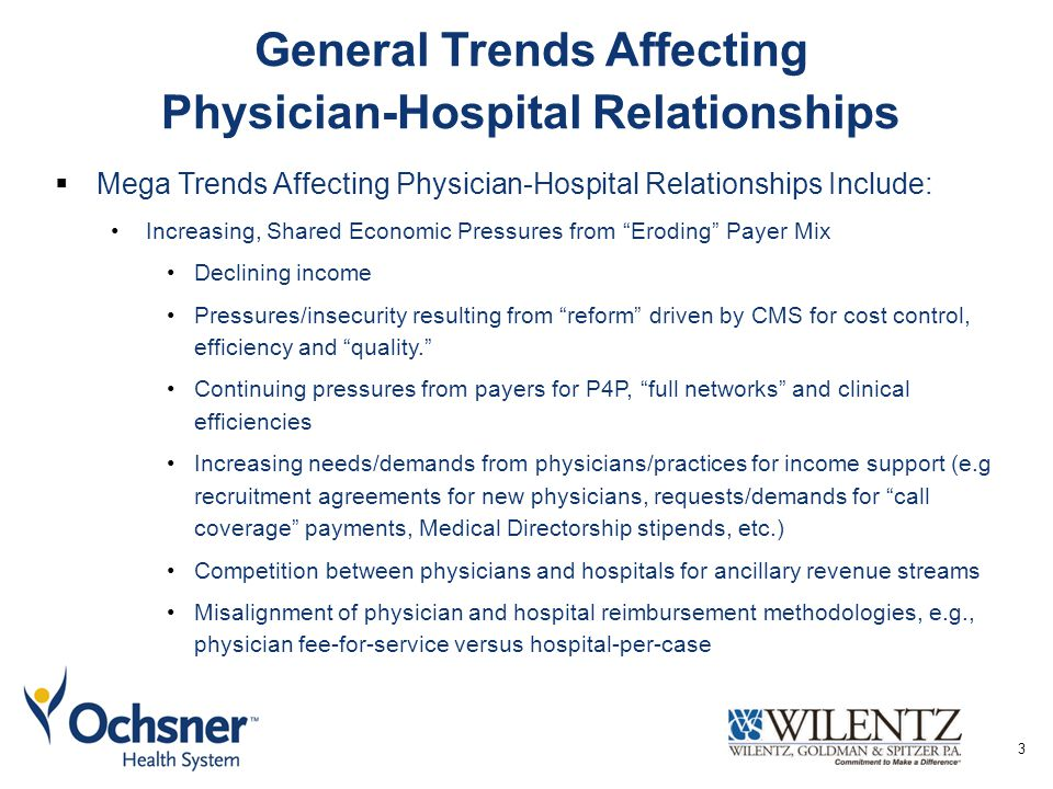  Mega Trends Affecting Physician-Hospital Relationships Include: Increasing, Shared Economic Pressures from Eroding Payer Mix Declining income Pressures/insecurity resulting from reform driven by CMS for cost control, efficiency and quality. Continuing pressures from payers for P4P, full networks and clinical efficiencies Increasing needs/demands from physicians/practices for income support (e.g recruitment agreements for new physicians, requests/demands for call coverage payments, Medical Directorship stipends, etc.) Competition between physicians and hospitals for ancillary revenue streams Misalignment of physician and hospital reimbursement methodologies, e.g., physician fee-for-service versus hospital-per-case General Trends Affecting Physician-Hospital Relationships 3