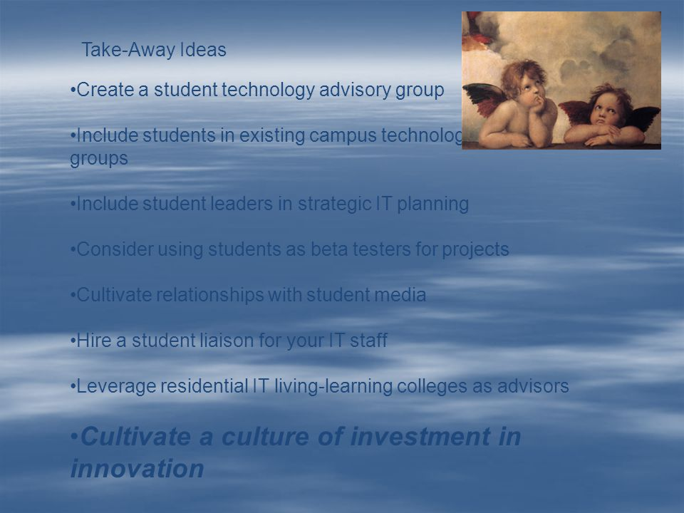 Create a student technology advisory group Include students in existing campus technology advisory groups Include student leaders in strategic IT plan