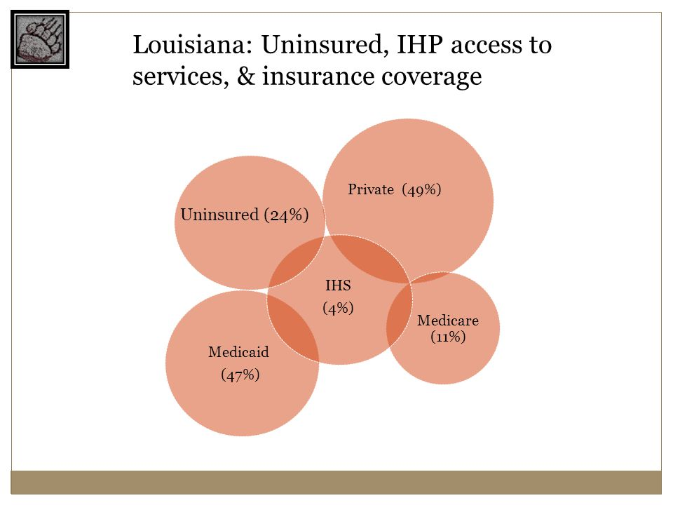 Medicaid (47%) Medicare (11%) Private (49%) IHS (4%) Uninsured (24%) Louisiana: Uninsured, IHP access to services, & insurance coverage