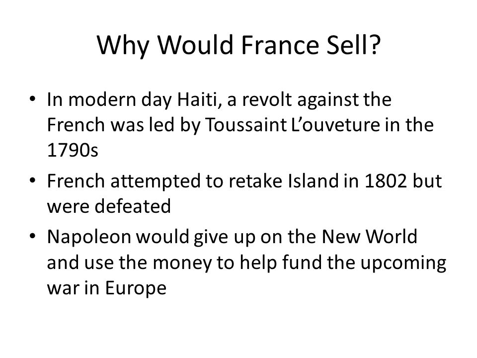 Why Would France Sell.