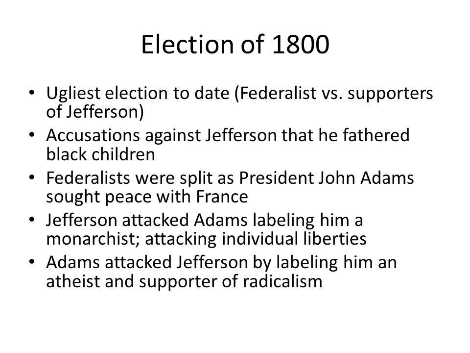 Election of 1800 Ugliest election to date (Federalist vs.