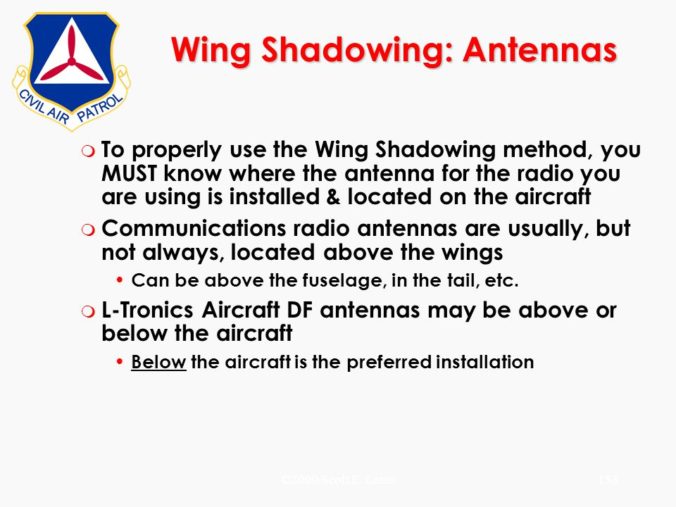 ©2000 Scott E. Lanis158 Wing Shadowing: Antennas m To properly use the Wing Shadowing method, you MUST know where the antenna for the radio you are us