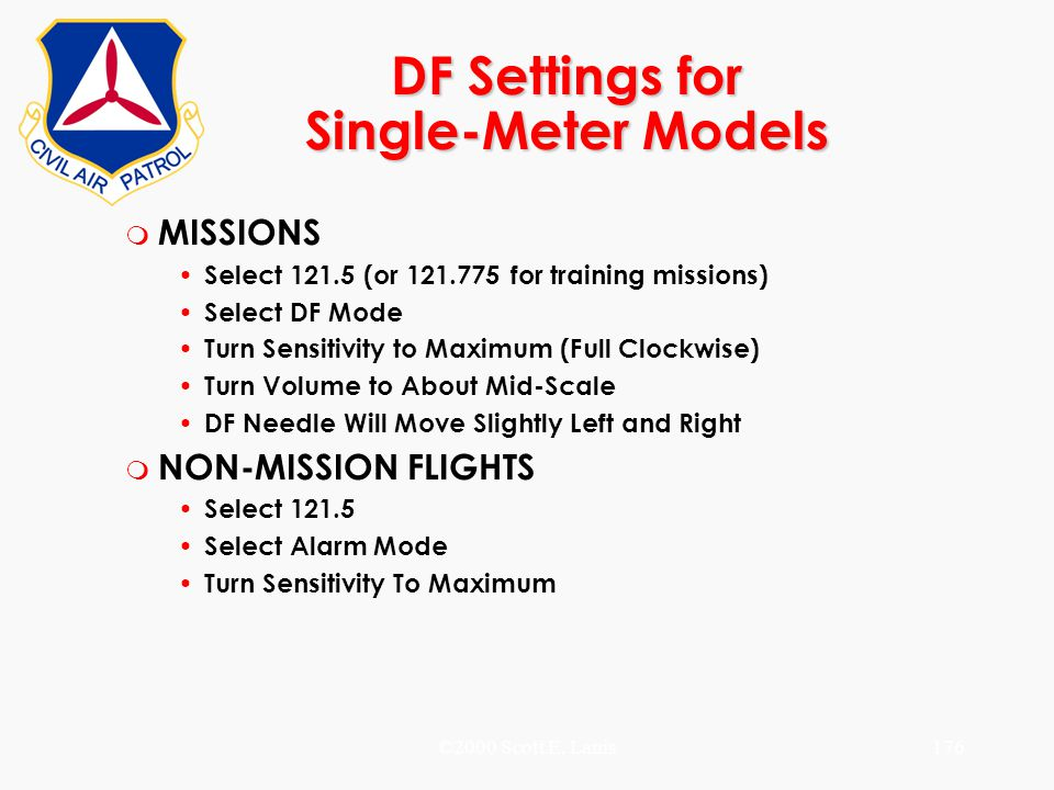 ©2000 Scott E. Lanis176 DF Settings for Single-Meter Models m MISSIONS Select 121.5 (or 121.775 for training missions) Select DF Mode Turn Sensitivity