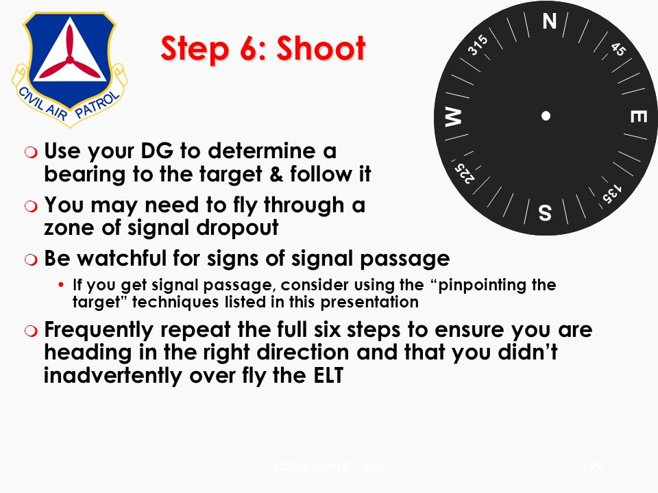 ©2000 Scott E. Lanis199 Step 6: Shoot m Use your DG to determine a bearing to the target & follow it m You may need to fly through a zone of signal dr
