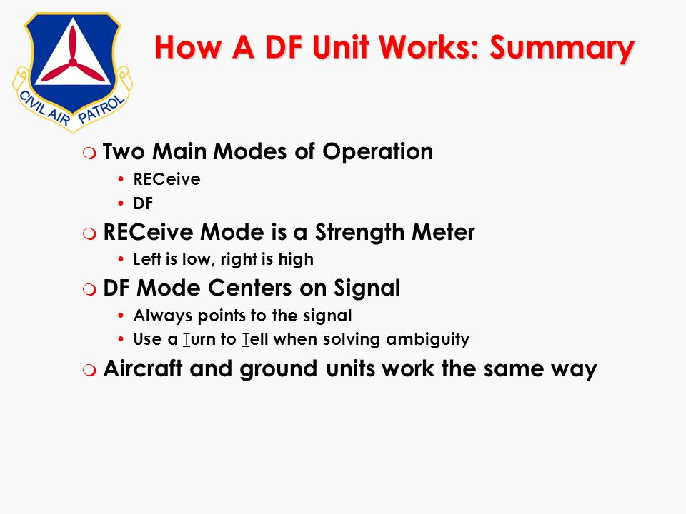 How A DF Unit Works: Summary m Two Main Modes of Operation RECeive DF m RECeive Mode is a Strength Meter Left is low, right is high m DF Mode Centers