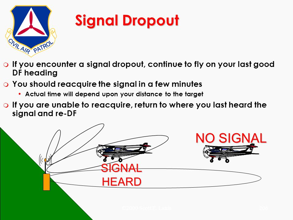 ©2000 Scott E. Lanis206 Signal Dropout NO SIGNAL SIGNALHEARD m If you encounter a signal dropout, continue to fly on your last good DF heading m You s