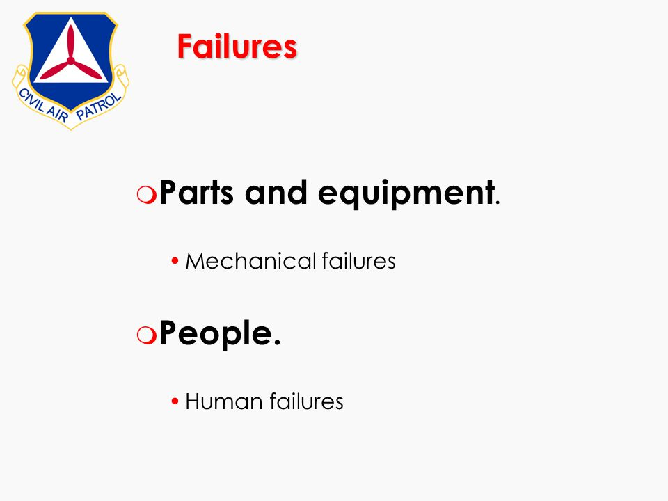 Failures m Parts and equipment. Mechanical failures m People. Human failures