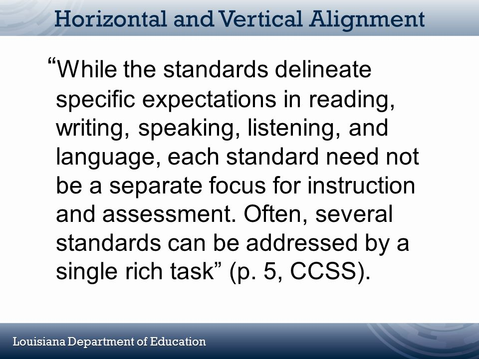 """Louisiana Department of Education Horizontal and Vertical Alignment """" While the standards delineate specific expectations in reading, writing, speakin"""
