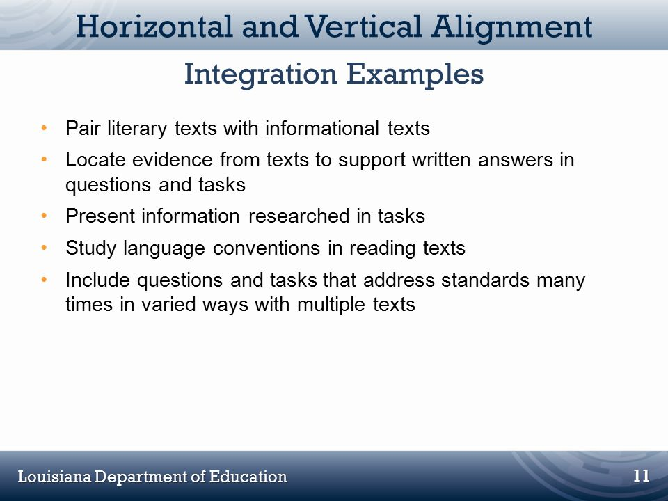 Louisiana Department of Education Horizontal and Vertical Alignment Pair literary texts with informational texts Locate evidence from texts to support