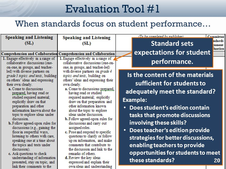Louisiana Department of Education Evaluation Tool #1 Standard sets expectations for student performance. Is the content of the materials sufficient fo