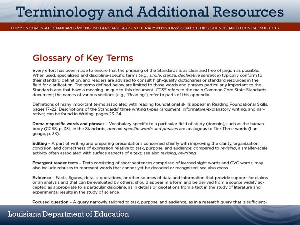 Louisiana Department of Education Terminology and Additional Resources (Appendix A Glossary Screen Shot)