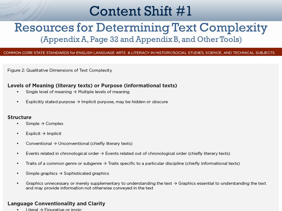 Louisiana Department of Education Content Shift #1 Resources for Determining Text Complexity (Appendix A, Page 32 and Appendix B, and Other Tools)