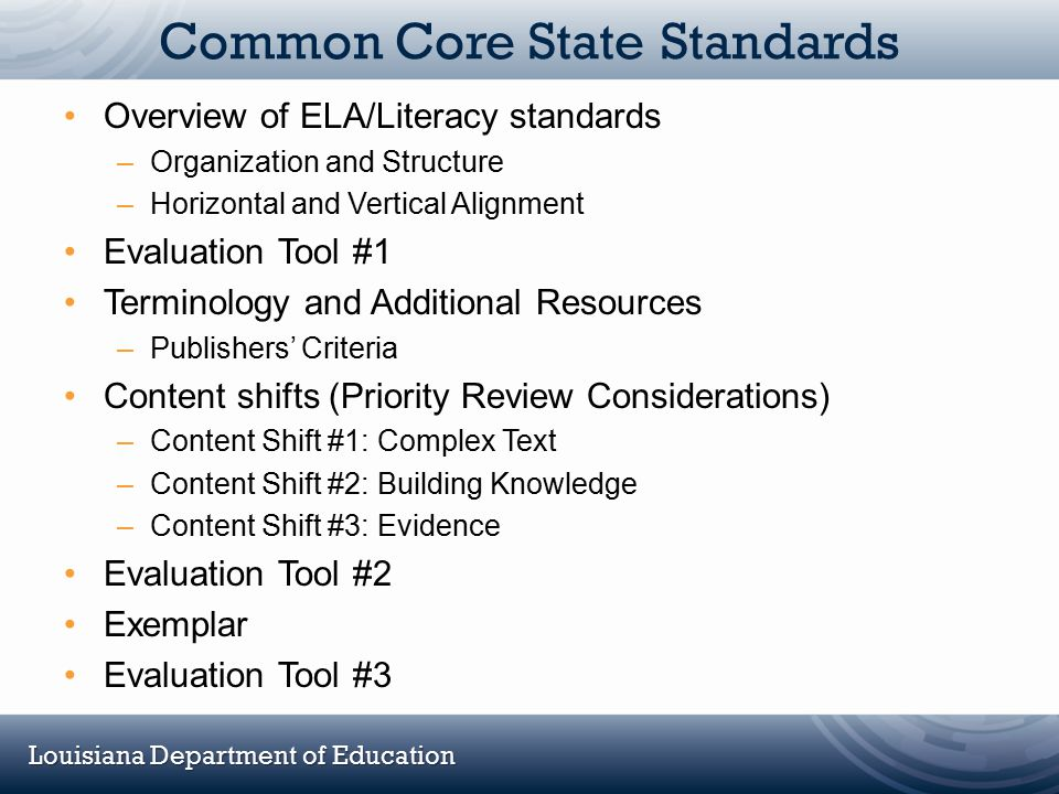 Louisiana Department of Education Common Core State Standards Overview of ELA/Literacy standards –Organization and Structure –Horizontal and Vertical
