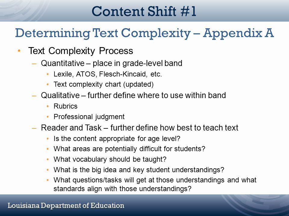Louisiana Department of Education Content Shift #1 Text Complexity Process –Quantitative – place in grade-level band Lexile, ATOS, Flesch-Kincaid, etc