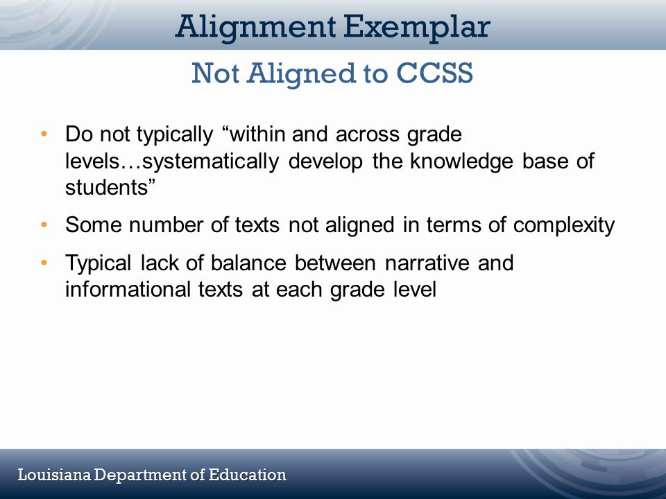 """Louisiana Department of Education Alignment Exemplar Do not typically """"within and across grade levels…systematically develop the knowledge base of stu"""