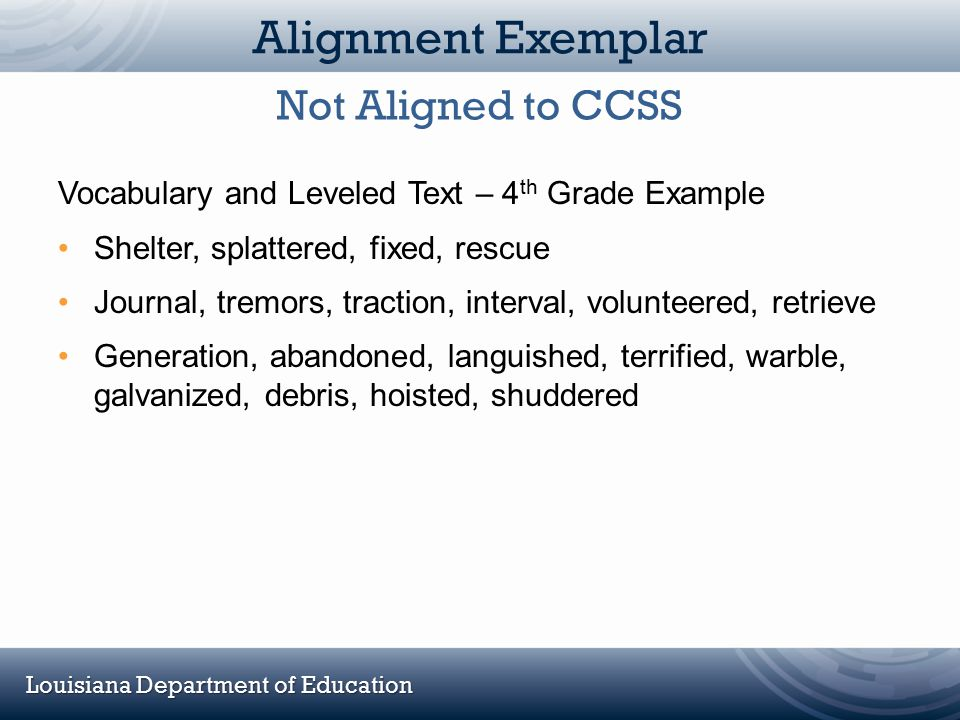 Louisiana Department of Education Alignment Exemplar Vocabulary and Leveled Text – 4 th Grade Example Shelter, splattered, fixed, rescue Journal, trem