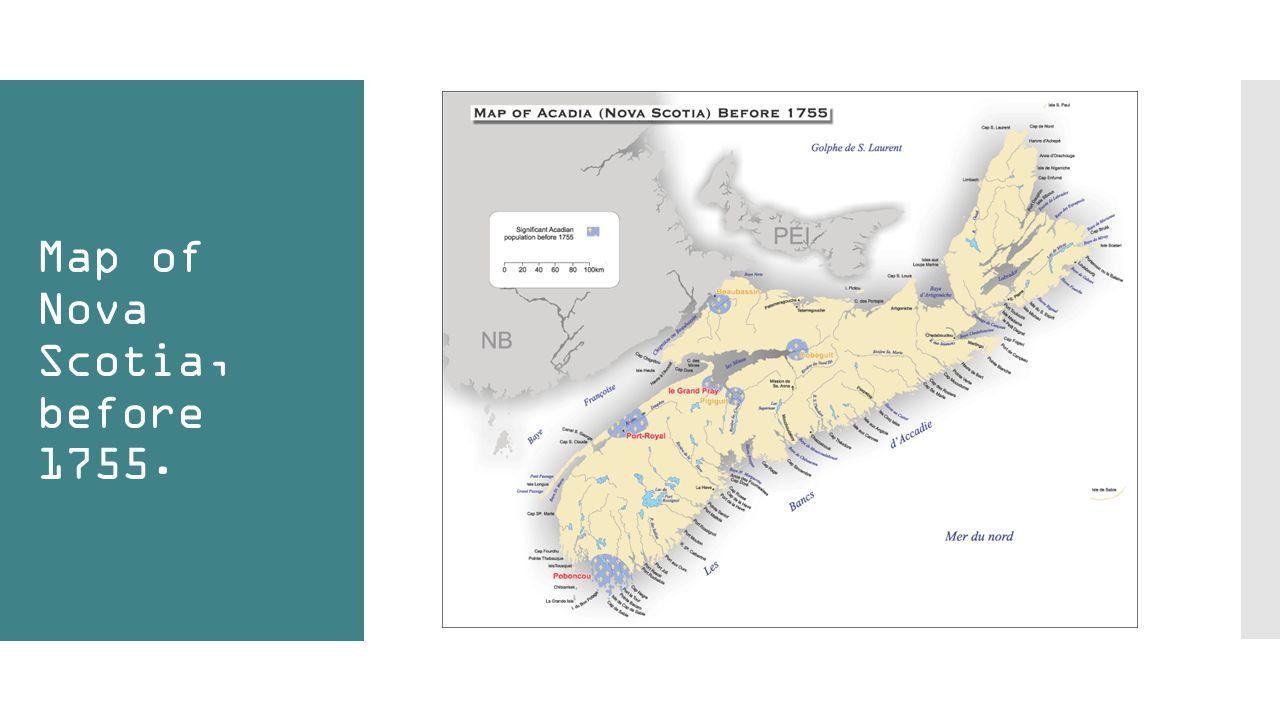 Map of Nova Scotia, before 1755.