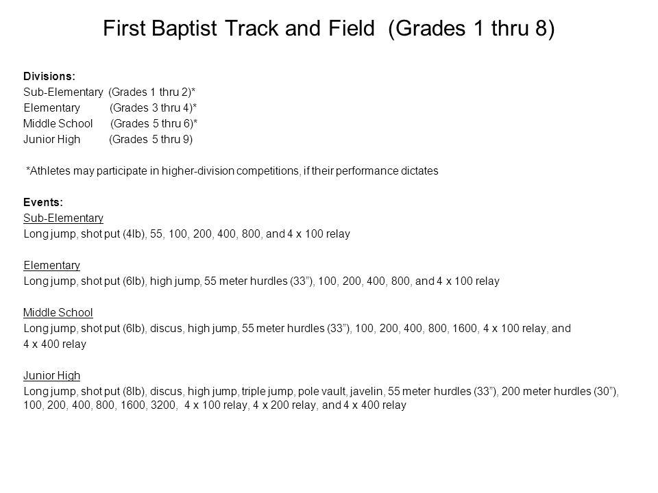 First Baptist Track and Field (Grades 1 thru 8) Divisions: Sub-Elementary (Grades 1 thru 2)* Elementary (Grades 3 thru 4)* Middle School (Grades 5 thr
