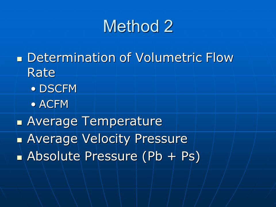 Method 2 Determination of Volumetric Flow Rate Determination of Volumetric Flow Rate DSCFMDSCFM ACFMACFM Average Temperature Average Temperature Average Velocity Pressure Average Velocity Pressure Absolute Pressure (Pb + Ps) Absolute Pressure (Pb + Ps)