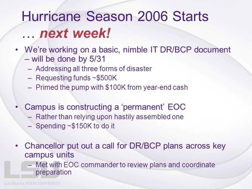 Hurricane Season 2006 Starts … next week.