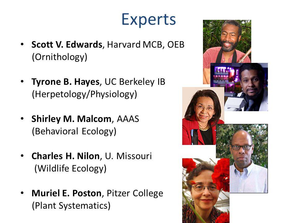 Experts Scott V. Edwards, Harvard MCB, OEB (Ornithology) Tyrone B. Hayes, UC Berkeley IB (Herpetology/Physiology) Shirley M. Malcom, AAAS (Behavioral