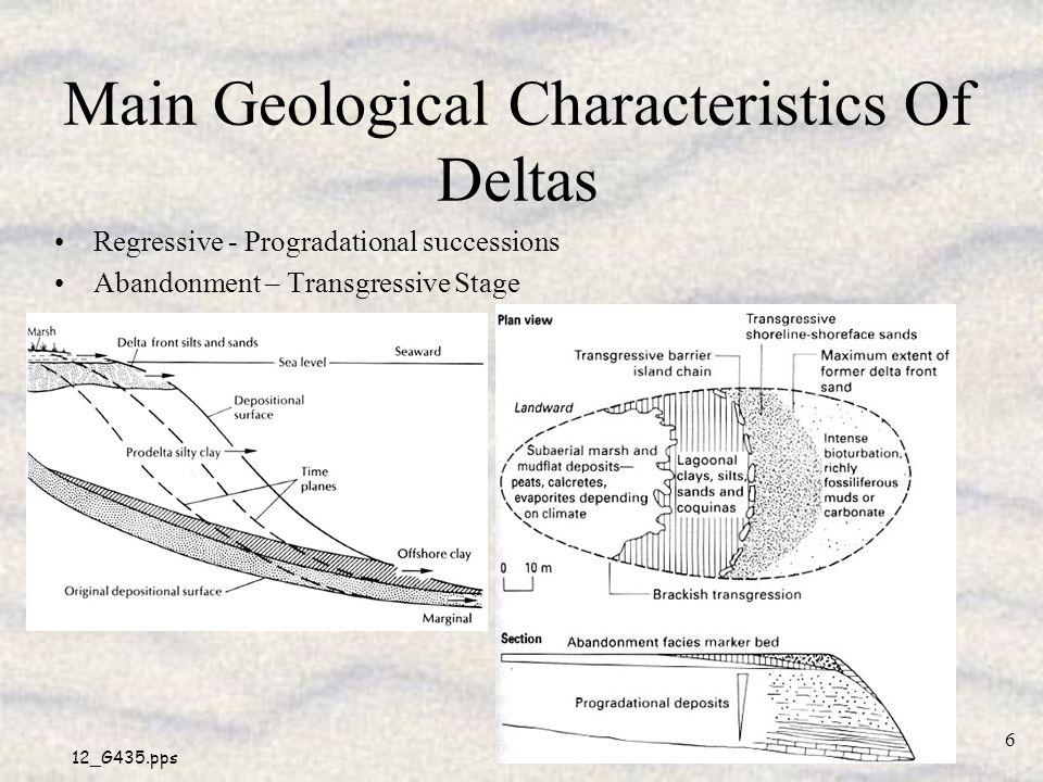 12_G435.pps 17 Generic Tide Dominated Delta Model High Tidal Range –Extensive lower delta plain/tidal mudflats –Shore perpendicular, elongate sand dominated facies, tidal channel deposits Ganges - Brahmaputra River Delta (Indian Ocean) (a tide dominated delta)