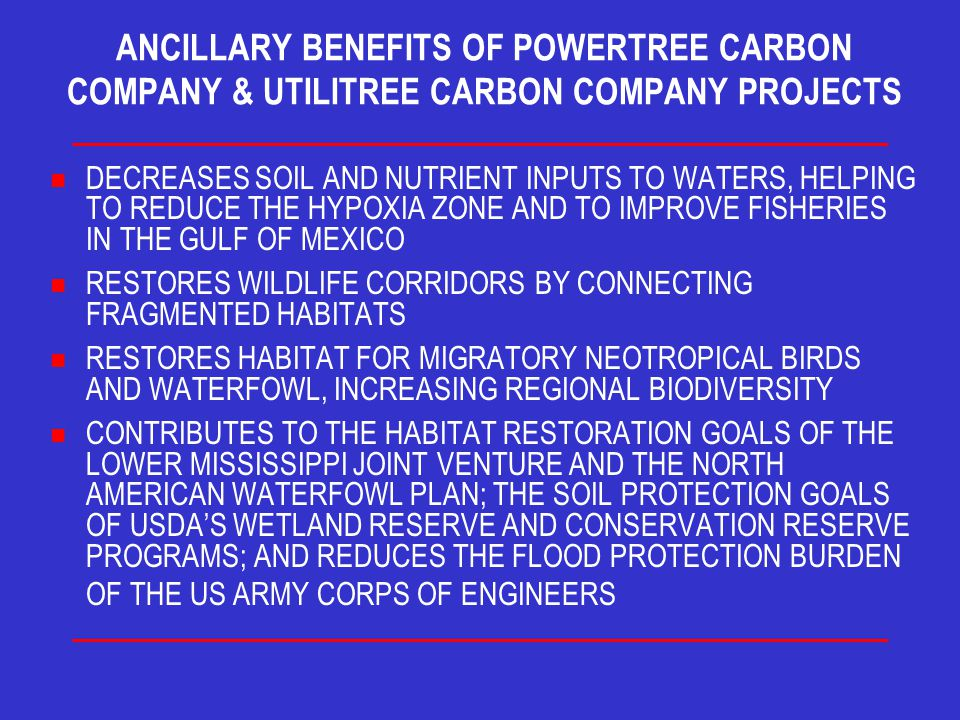 ANCILLARY BENEFITS OF POWERTREE CARBON COMPANY & UTILITREE CARBON COMPANY PROJECTS n DECREASES SOIL AND NUTRIENT INPUTS TO WATERS, HELPING TO REDUCE THE HYPOXIA ZONE AND TO IMPROVE FISHERIES IN THE GULF OF MEXICO n RESTORES WILDLIFE CORRIDORS BY CONNECTING FRAGMENTED HABITATS n RESTORES HABITAT FOR MIGRATORY NEOTROPICAL BIRDS AND WATERFOWL, INCREASING REGIONAL BIODIVERSITY CONTRIBUTES TO THE HABITAT RESTORATION GOALS OF THE LOWER MISSISSIPPI JOINT VENTURE AND THE NORTH AMERICAN WATERFOWL PLAN; THE SOIL PROTECTION GOALS OF USDA'S WETLAND RESERVE AND CONSERVATION RESERVE PROGRAMS; AND REDUCES THE FLOOD PROTECTION BURDEN OF THE US ARMY CORPS OF ENGINEERS