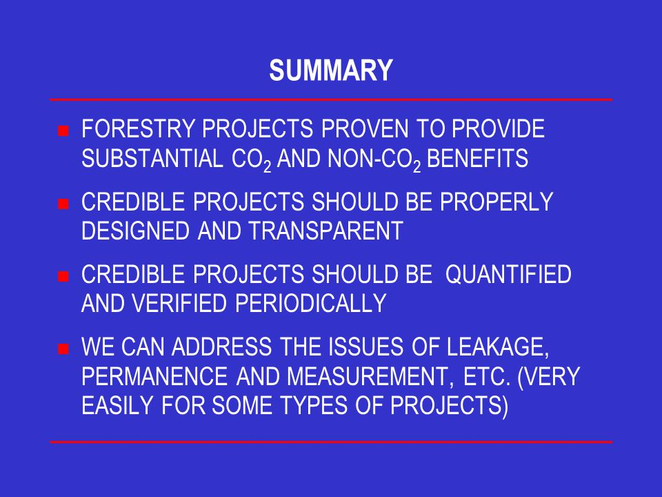 SUMMARY n FORESTRY PROJECTS PROVEN TO PROVIDE SUBSTANTIAL CO 2 AND NON-CO 2 BENEFITS n CREDIBLE PROJECTS SHOULD BE PROPERLY DESIGNED AND TRANSPARENT n CREDIBLE PROJECTS SHOULD BE QUANTIFIED AND VERIFIED PERIODICALLY n WE CAN ADDRESS THE ISSUES OF LEAKAGE, PERMANENCE AND MEASUREMENT, ETC.