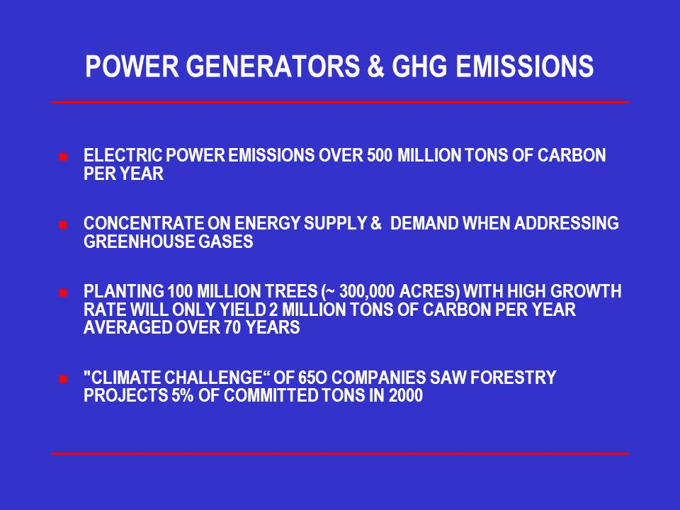 POWER GENERATORS & GHG EMISSIONS n ELECTRIC POWER EMISSIONS OVER 500 MILLION TONS OF CARBON PER YEAR n CONCENTRATE ON ENERGY SUPPLY & DEMAND WHEN ADDRESSING GREENHOUSE GASES n PLANTING 100 MILLION TREES (~ 300,000 ACRES) WITH HIGH GROWTH RATE WILL ONLY YIELD 2 MILLION TONS OF CARBON PER YEAR AVERAGED OVER 70 YEARS n CLIMATE CHALLENGE OF 65O COMPANIES SAW FORESTRY PROJECTS 5% OF COMMITTED TONS IN 2000