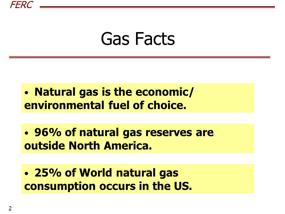 FERC 2 Gas Facts Natural gas is the economic/ environmental fuel of choice.
