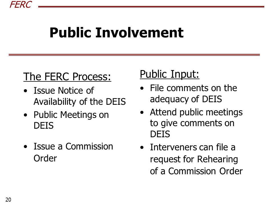 FERC 20 The FERC Process: Issue Notice of Availability of the DEIS Public Meetings on DEIS Issue a Commission Order Public Input: File comments on the adequacy of DEIS Attend public meetings to give comments on DEIS Interveners can file a request for Rehearing of a Commission Order Public Involvement