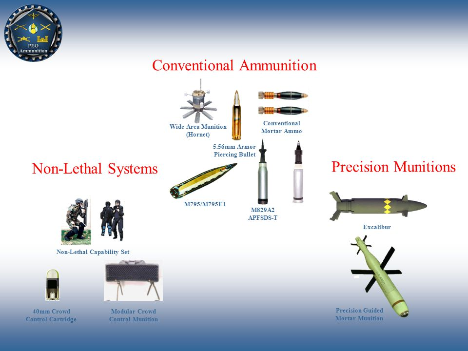 Wide Area Munition (Hornet) M829A2 APFSDS-T M795/M795E1 Conventional Mortar Ammo 5.56mm Armor Piercing Bullet Non-Lethal Capability Set Modular Crowd Control Munition 40mm Crowd Control Cartridge Excalibur Precision Guided Mortar Munition Conventional Ammunition Non-Lethal Systems Precision Munitions