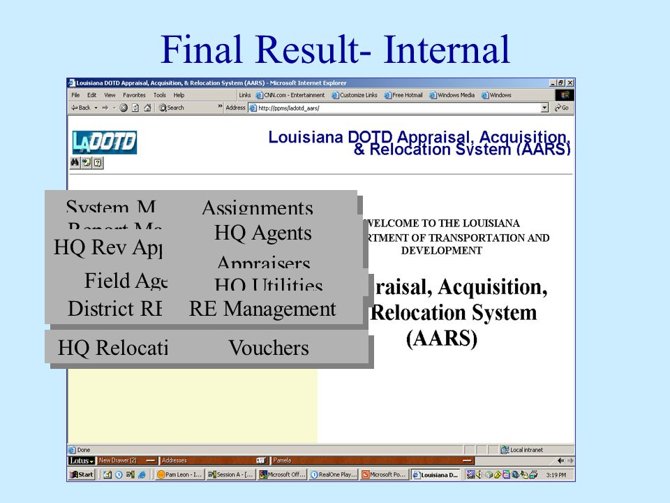 Final Result- Internal System Manager Report Manager HQ Rev Appraisers Field Agents District RE Mgr HQ Relocation Agent Assignments HQ Agents Appraise