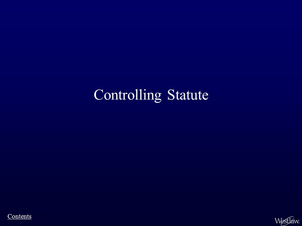 Controlling Statute Contents