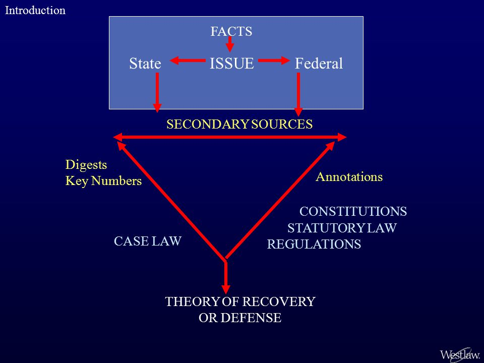 State ISSUE Federal FACTS THEORY OF RECOVERY OR DEFENSE CASE LAW STATUTORY LAW REGULATIONS CONSTITUTIONS SECONDARY SOURCES Digests Key Numbers Annotations Introduction