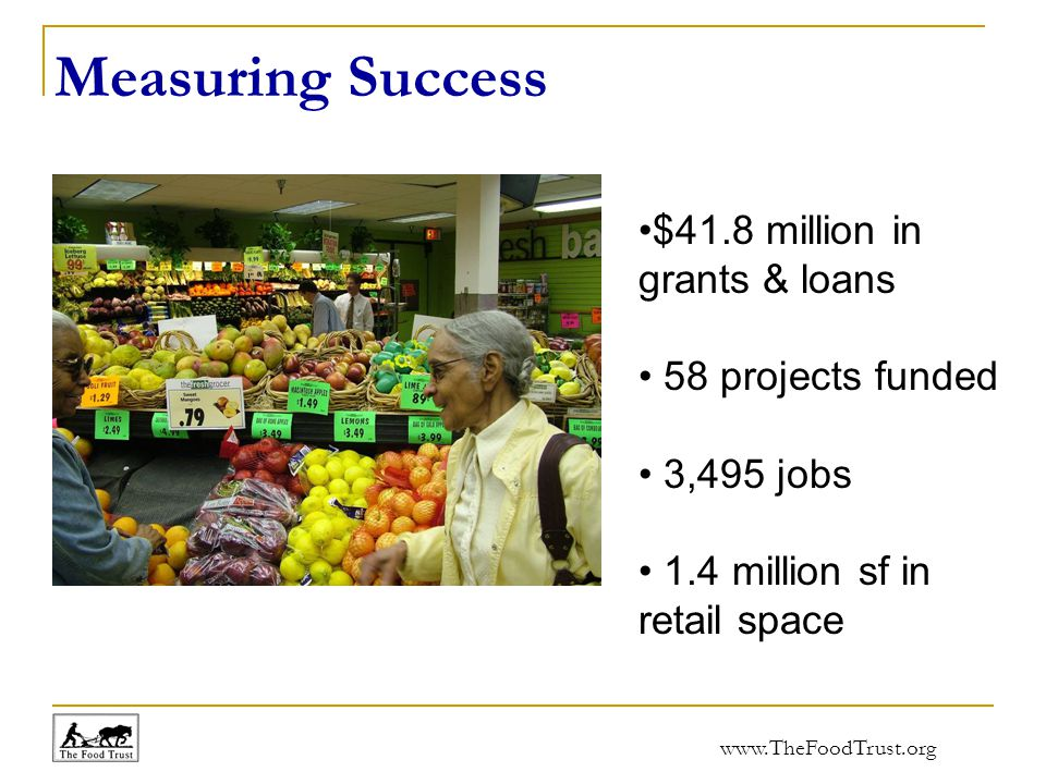 www.TheFoodTrust.org Measuring Success $41.8 million in grants & loans 58 projects funded 3,495 jobs 1.4 million sf in retail space
