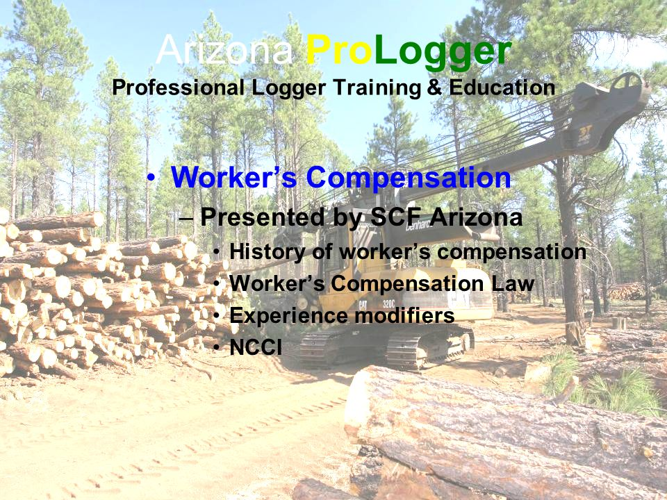 Arizona ProLogger Professional Logger Training & Education Worker's Compensation –Presented by SCF Arizona History of worker's compensation Worker's Compensation Law Experience modifiers NCCI