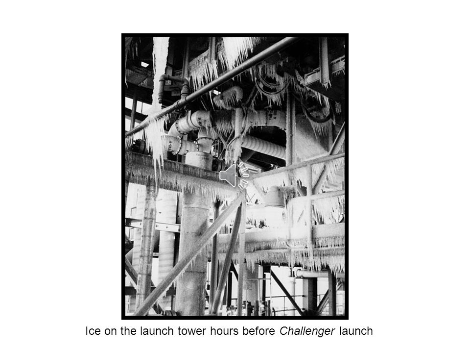 Ice on the launch tower hours before Challenger launch