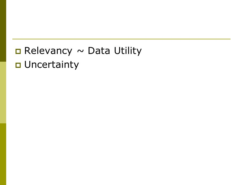  Relevancy ~ Data Utility  Uncertainty