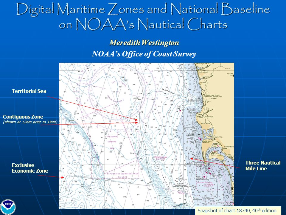 Updates to Paper/Raster Nautical Charts THEN- THEN- Territorial Sea and Contiguous Zone are both projected 12 nautical miles from baseline NOW- NOW- Territorial Sea at 12 nautical miles and Contiguous Zone at 24 nautical miles from baseline