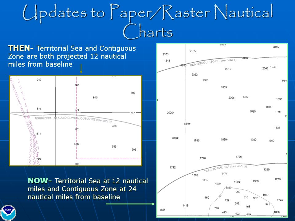 Updates to Paper/Raster Nautical Charts THEN- THEN- Territorial Sea and Contiguous Zone are both projected 12 nautical miles from baseline NOW- NOW- T